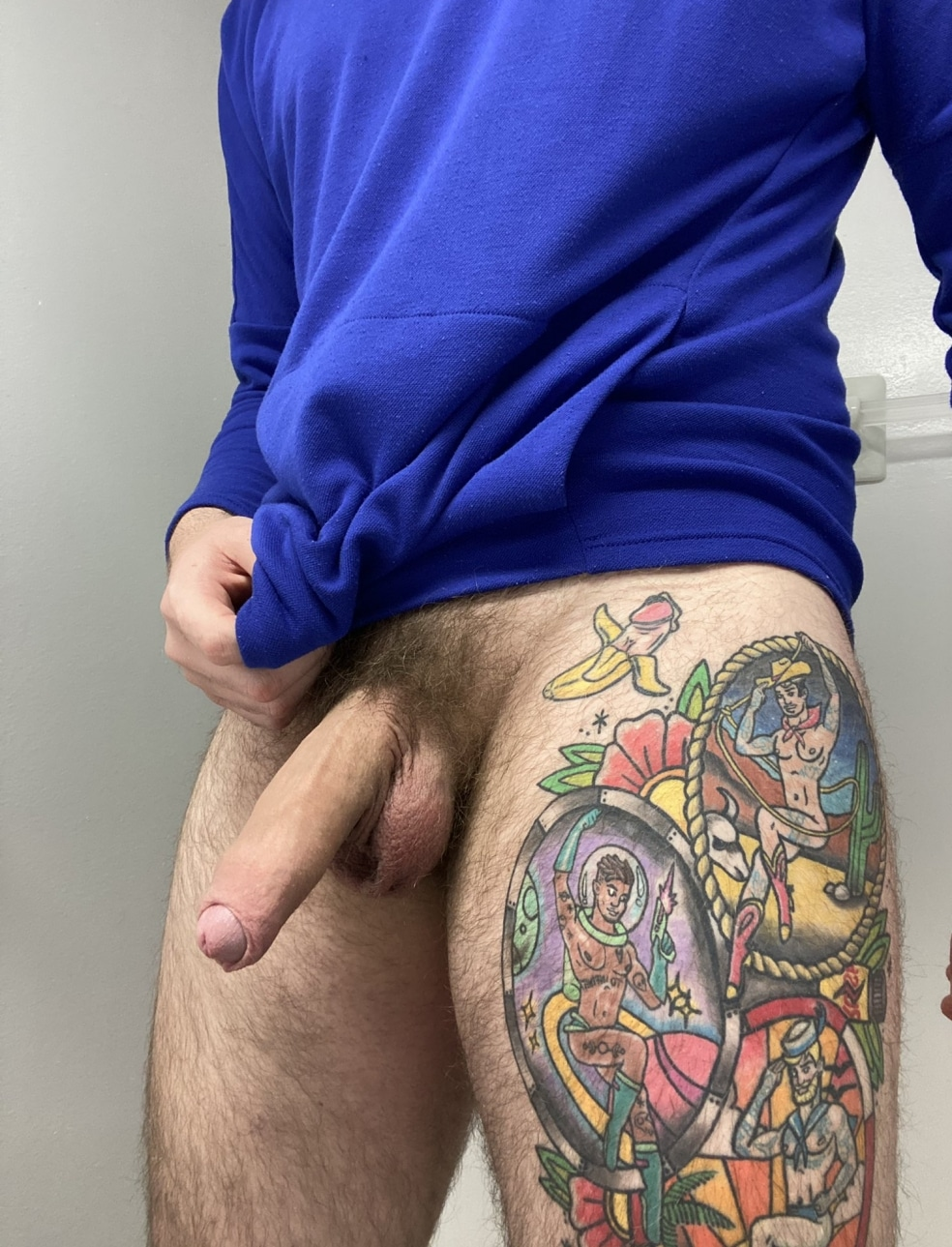 Hairy dick hanging down