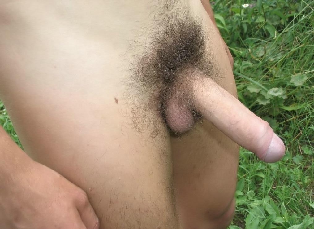 Hard hairy dick outdoors
